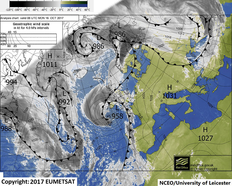 Figure 2. Synoptic weather chart with a false-colour infrared SEVIRI channel 9 image overlain at 6UTC on 16/10/2017.