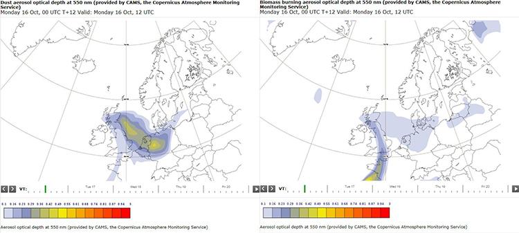 Figure 5. Copernicus Atmospheric Monitoring Service model forecasts of (left) dust aerosol optical depth and (right) biomass burning optical depth at 12 UTC on 16/10/2017. Rough estimates show a 70% biomass burning aerosol and 30% dust aerosol.